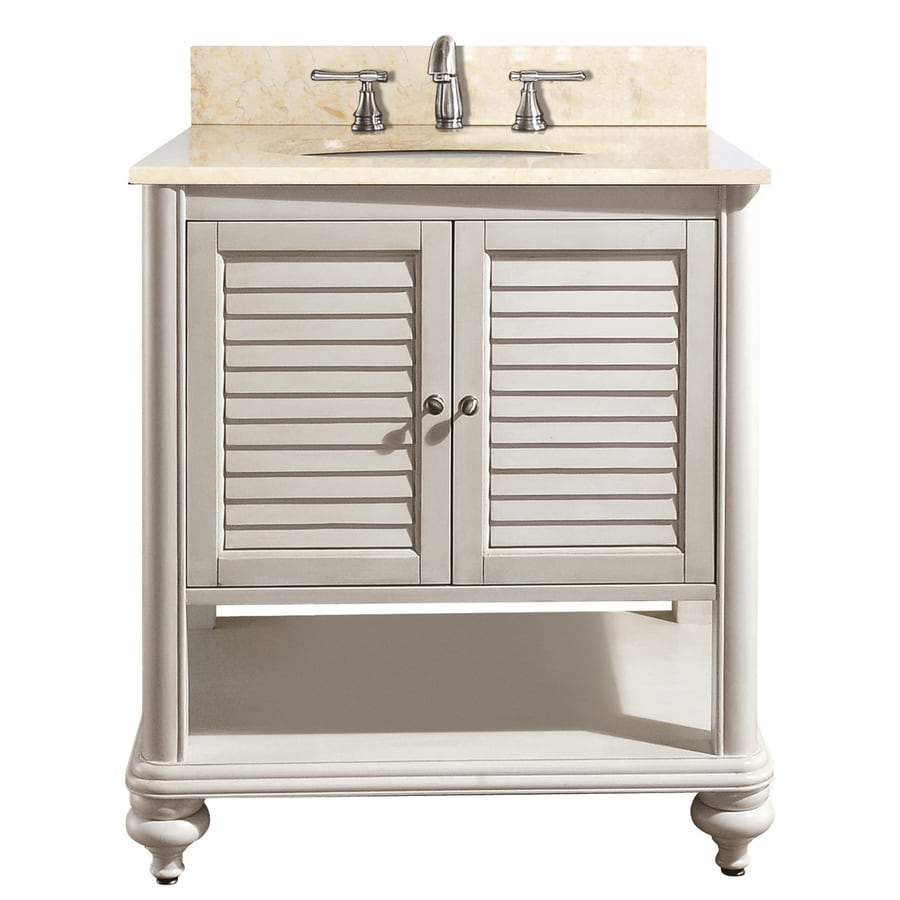 Avanity Tropica White Undermount Single Sink Bathroom Vanity with Natural Marble Top (Common: 31-in x 22-in; Actual: 31-in x 22-in)