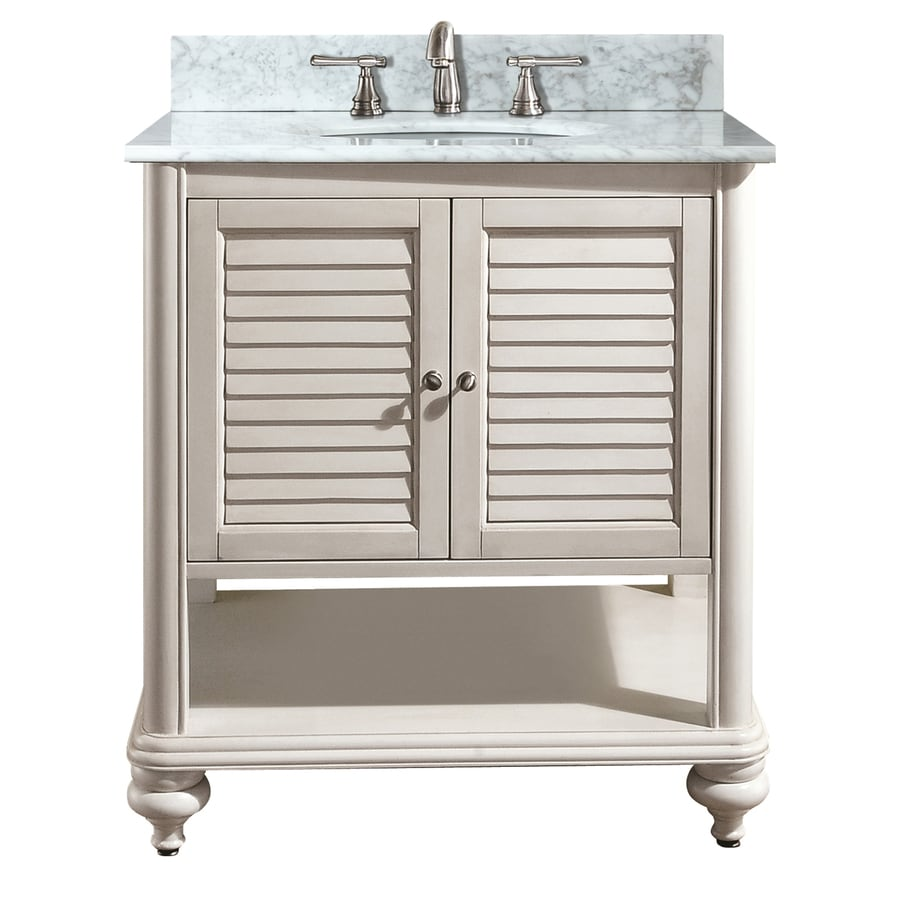 Avanity Tropica White (Common: 31-in x 22-in) Undermount Single Sink Poplar Bathroom Vanity with Natural Marble Top (Actual: 31-in x 22-in)