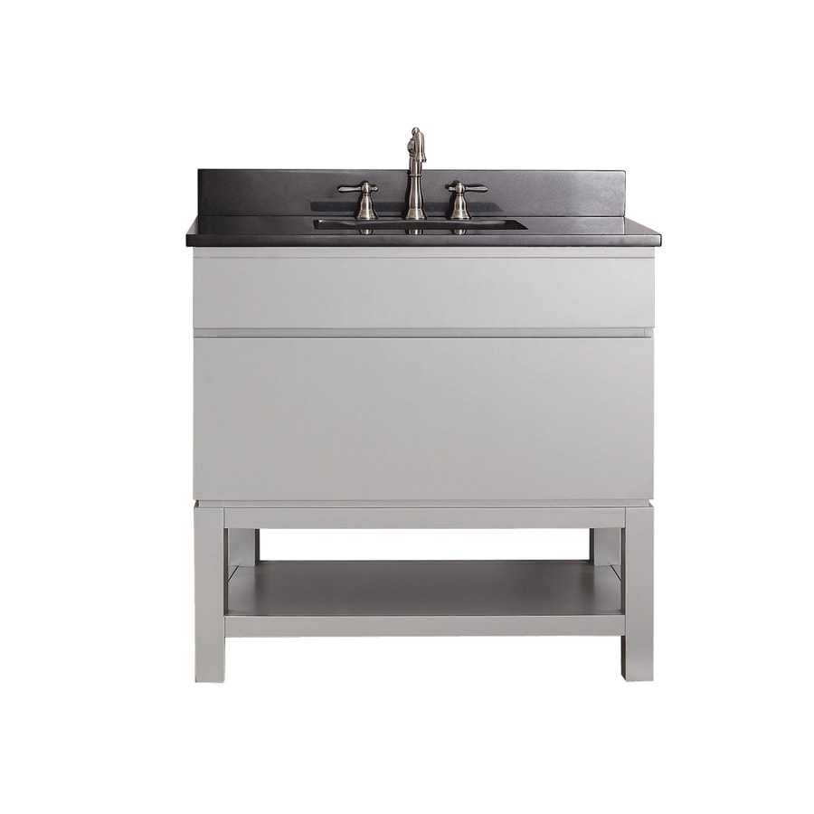 Avanity Tribeca Chilled Gray 37-in Undermount Single Sink Poplar Bathroom Vanity with Granite Top