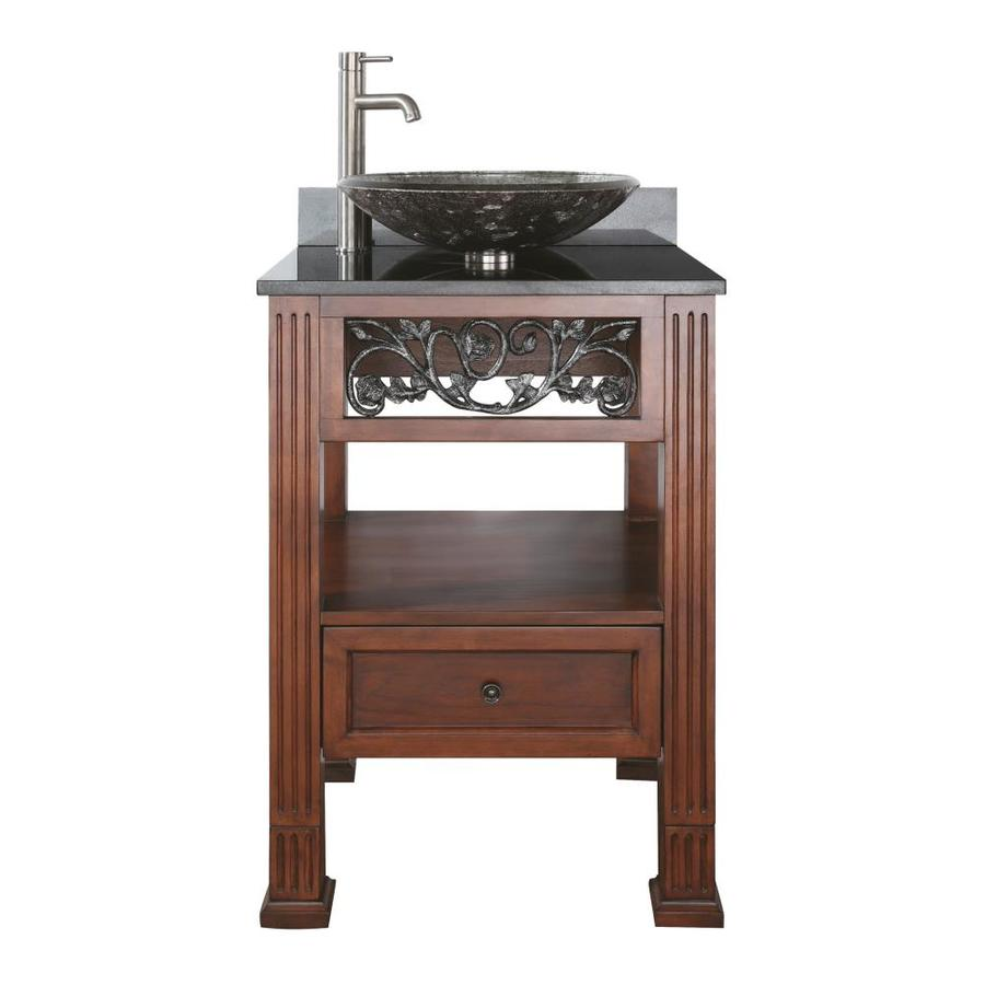 Avanity Napa Dark Cherry 25-in Vessel (No Sink) Poplar Bathroom Vanity with Granite Top