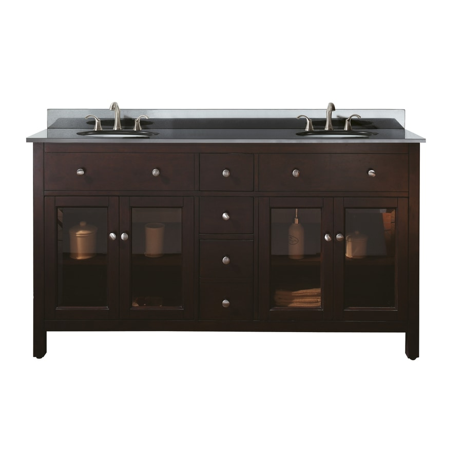 Avanity Lexington Espresso (Common: 61-in x 22-in) Undermount Double Sink Poplar Bathroom Vanity with Granite Top (Actual: 61-in x 22-in)