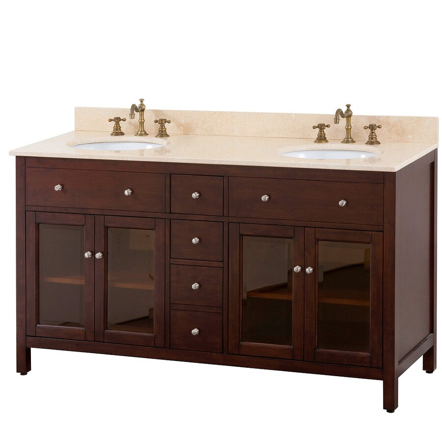 Avanity Lexington Light Espresso 61-in Undermount Double Sink Poplar Bathroom Vanity with Vitreous China Top