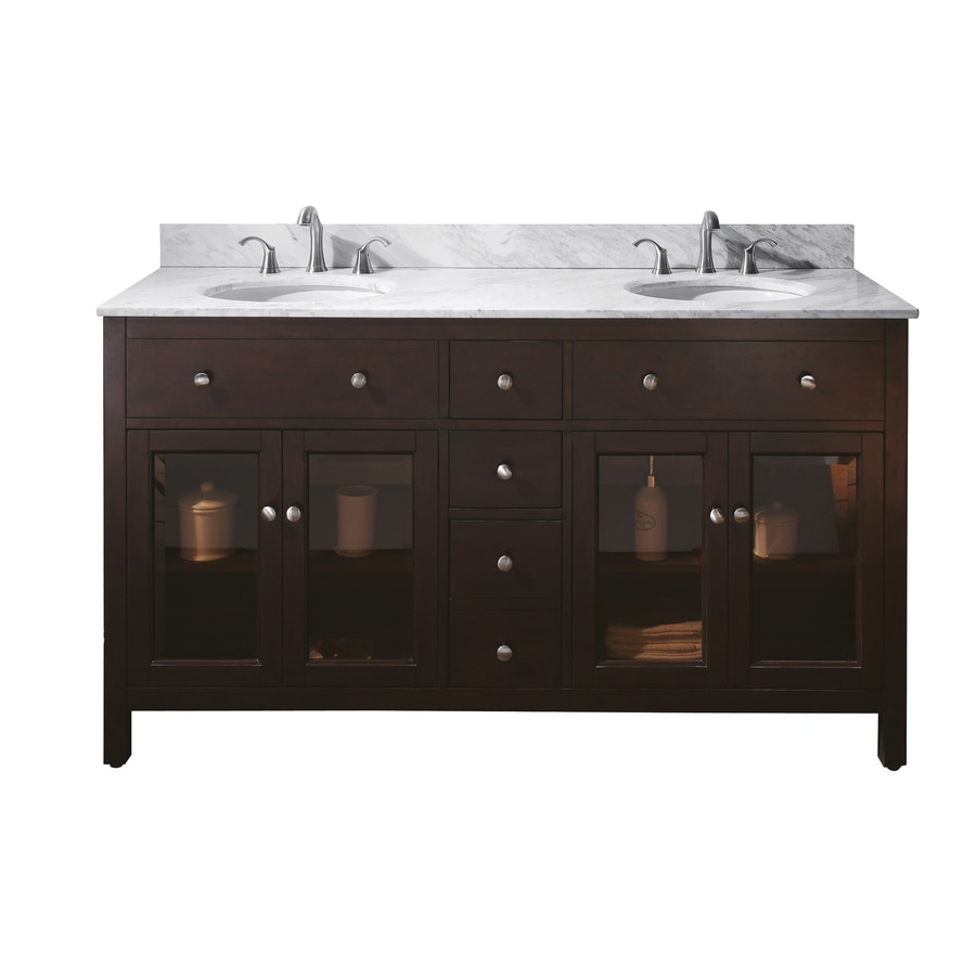 Avanity Lexington Espresso 61-in Undermount Double Sink Poplar Bathroom Vanity with Natural Marble Top