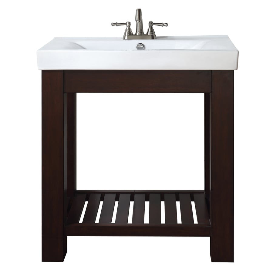 Avanity Lexi Medium Espresso Integrated Single Sink Bathroom Vanity with Vitreous China Top (Common: 31.5-in x 17-in; Actual: 31.5-in x 17.9-in)