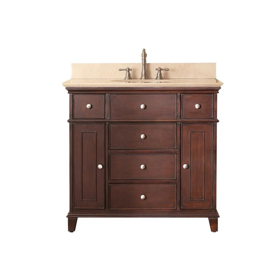 Avanity Windsor Walnut 37-in Undermount Single Sink Poplar Bathroom Vanity with Natural Marble Top