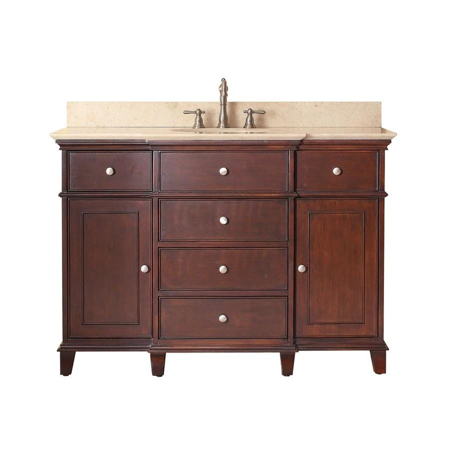 Avanity windsor 49 in walnut single sink bathroom vanity - Lowes single sink bathroom vanity ...