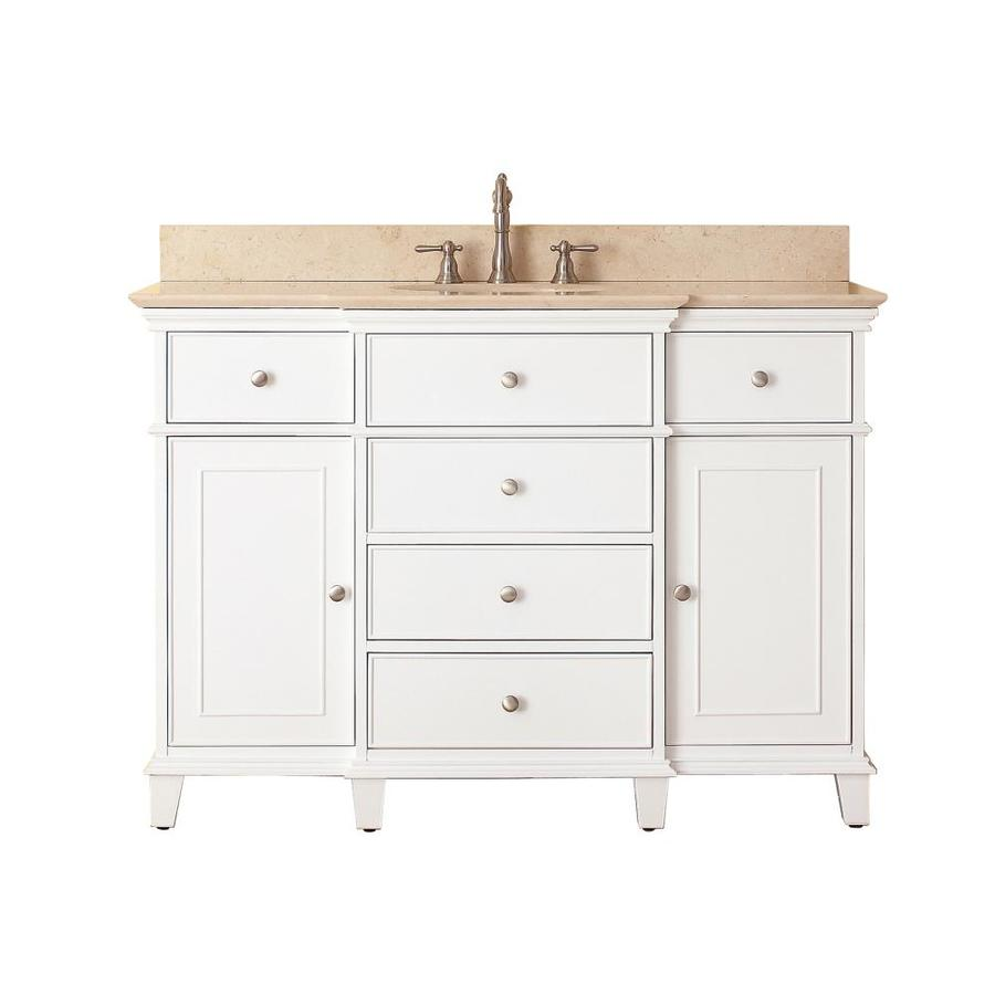 Avanity Windsor White Undermount Single Sink Bathroom Vanity with Natural Marble Top (Common: 49-in x 22-in; Actual: 49-in x 22-in)