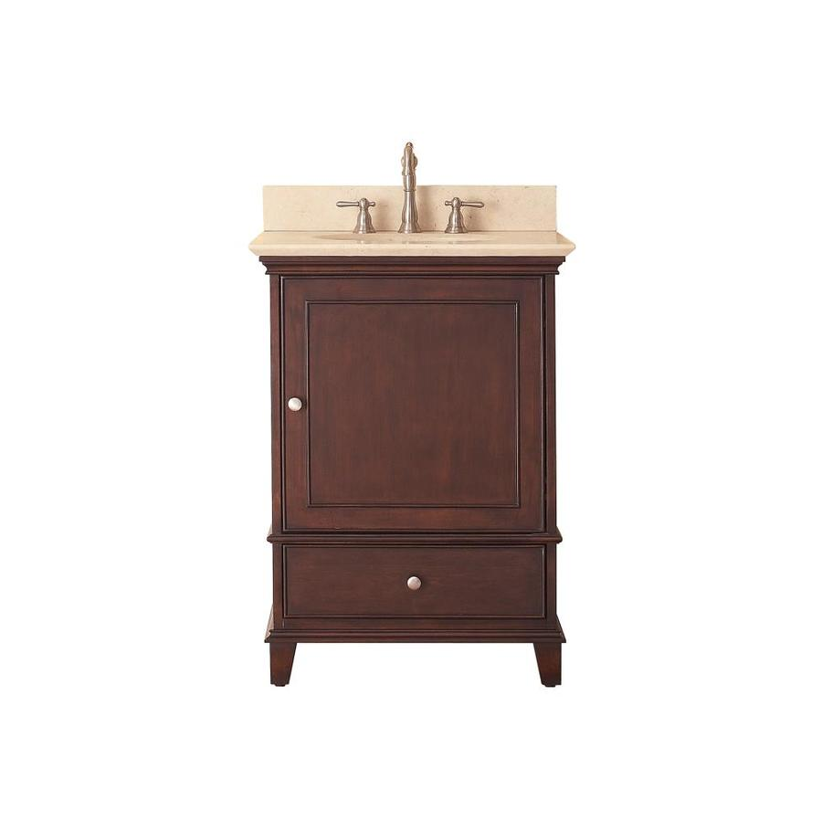 Avanity Windsor Walnut Undermount Single Sink Bathroom Vanity with Natural Marble Top (Common: 25-in x 22-in; Actual: 25-in x 22-in)