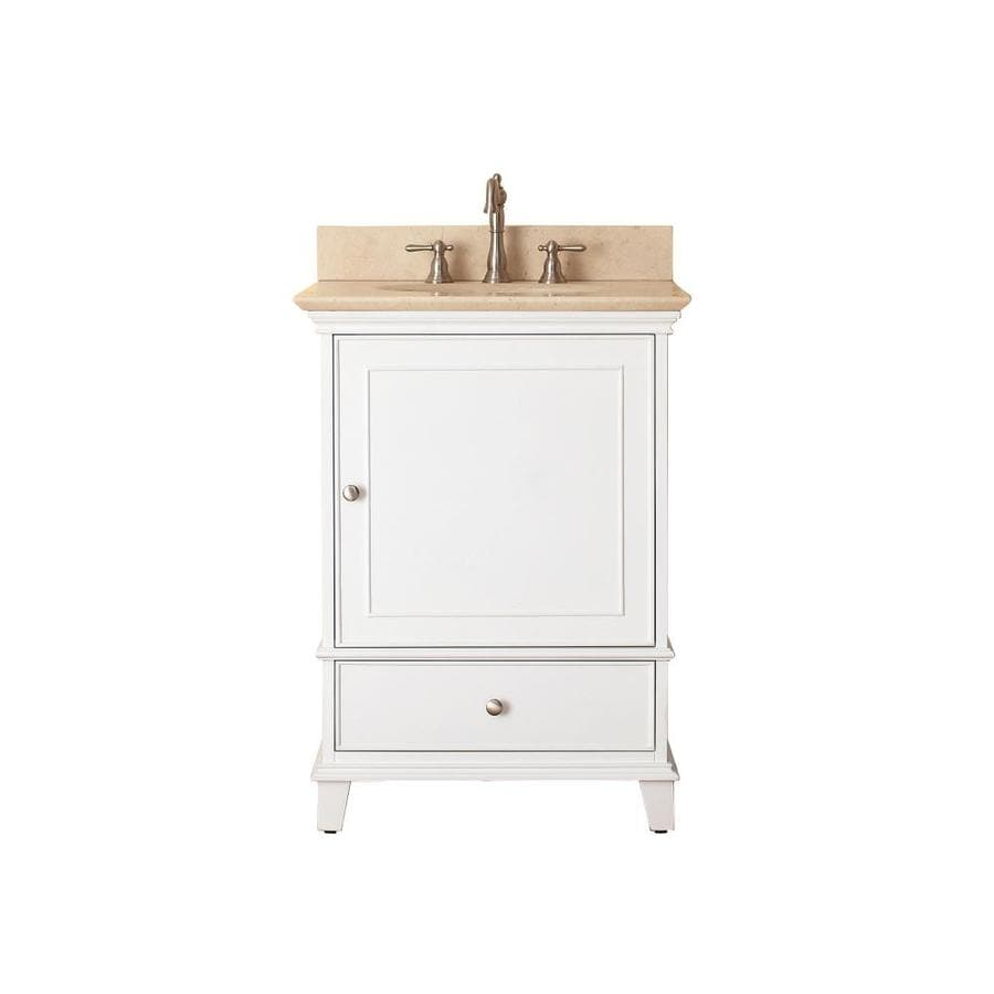 Avanity Windsor White Undermount Single Sink Bathroom Vanity with Natural Marble Top (Common: 25-in x 22-in; Actual: 25-in x 22-in)