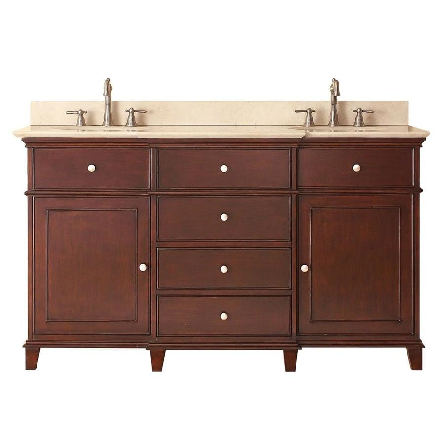 Avanity Windsor Walnut 61-in Undermount Double Sink Poplar Bathroom Vanity with Natural Marble Top