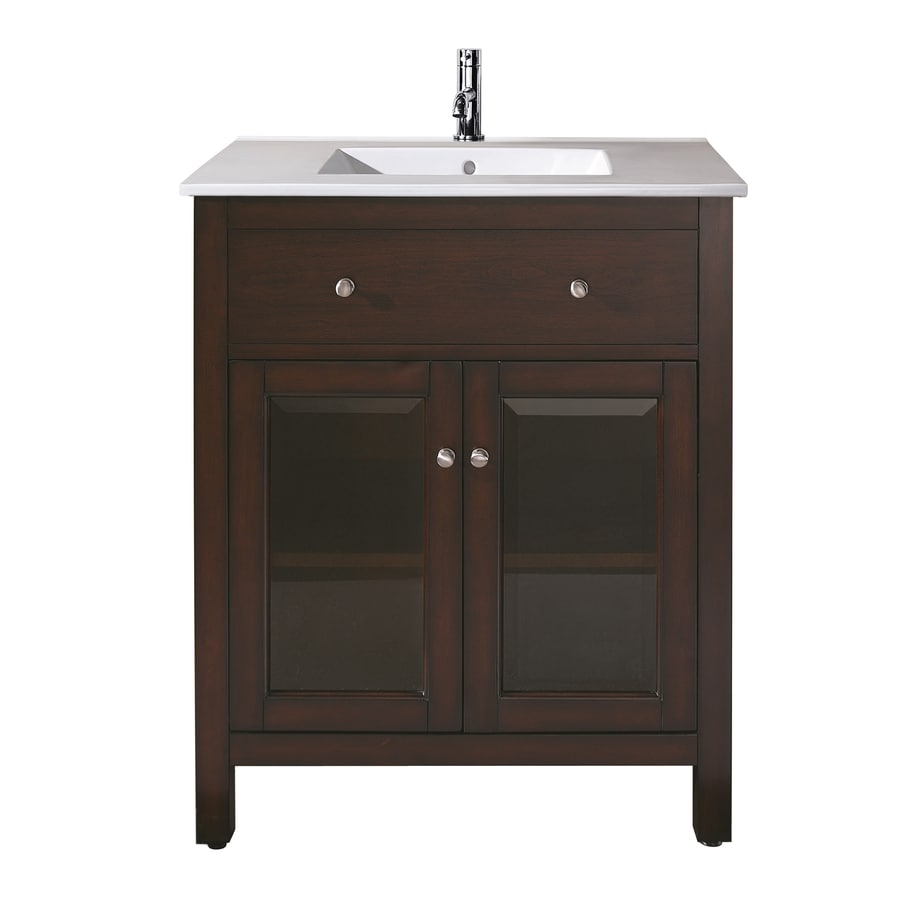 Avanity Lexington Light Espresso 25-in Integral Single Sink Poplar Bathroom Vanity with Vitreous China Top