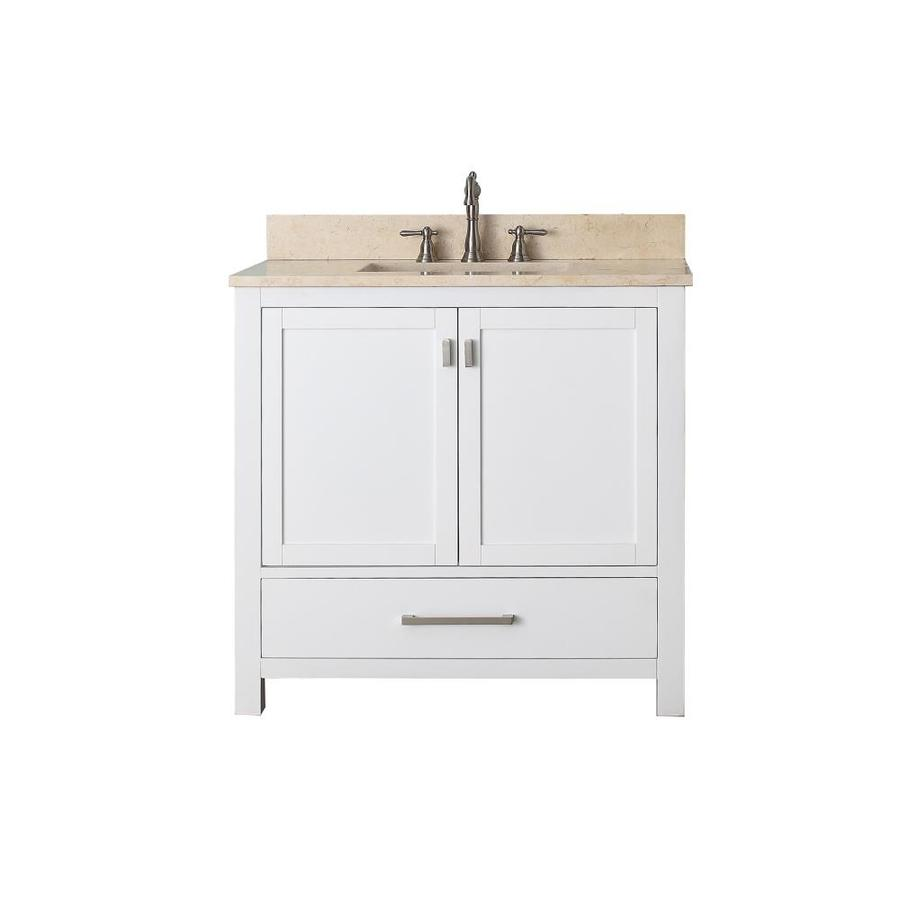 Avanity Modero White Undermount Single Sink Bathroom Vanity with Natural Marble Top (Common: 37-in x 22-in; Actual: 37-in x 22-in)