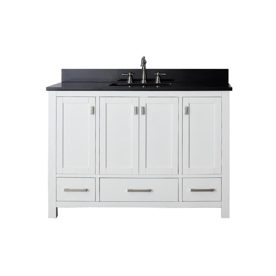 Shop Avanity Modero White Vanity With Black Granite Top Common 49 In X 22 In At
