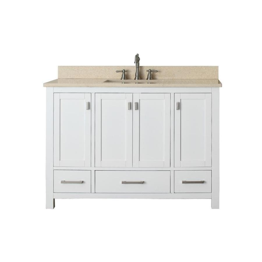 modero white 49 in undermount single sink poplar bathroom vanity