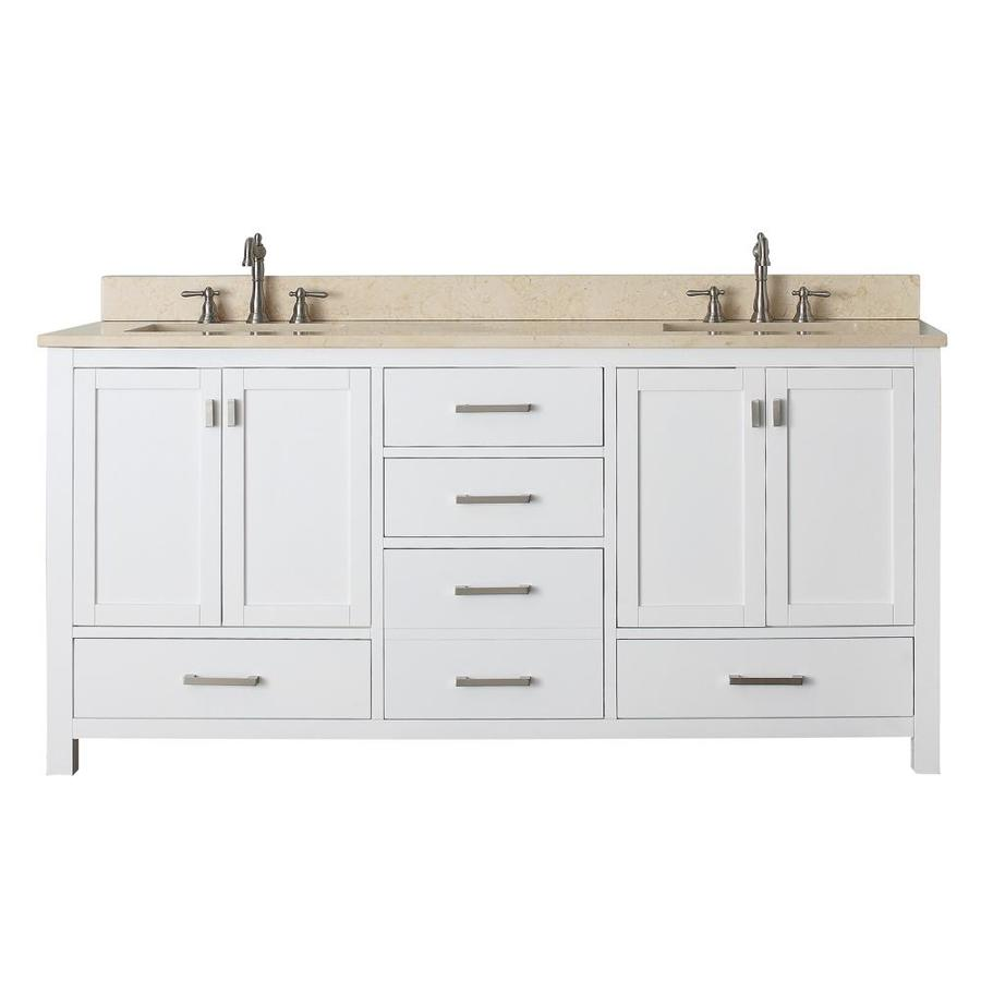 Avanity Modero White 73-in Undermount Double Sink Poplar Bathroom Vanity with Natural Marble Top
