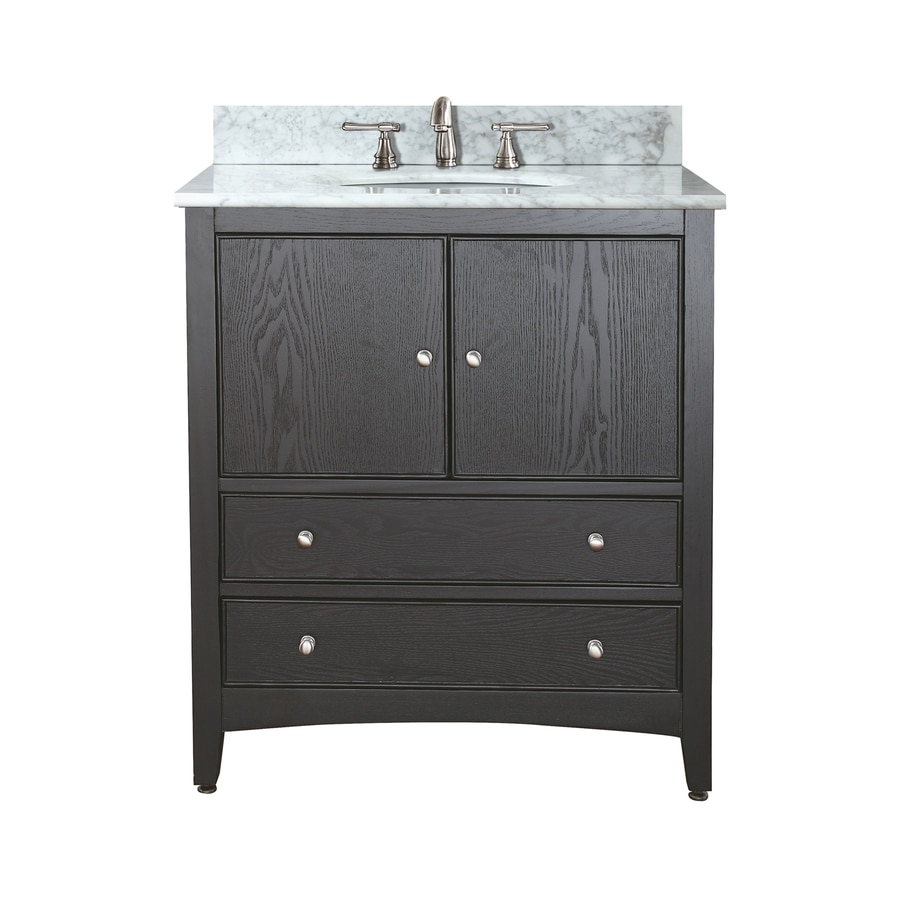 Avanity Westwood Ebony 25-in Undermount Single Sink Poplar Bathroom Vanity with Natural Marble Top