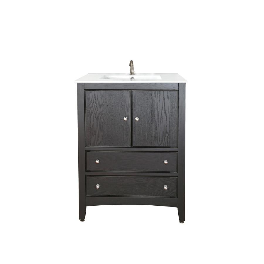 Avanity Westwood Dark Ebony 25-in Integral Single Sink Poplar Bathroom Vanity with Vitreous China Top