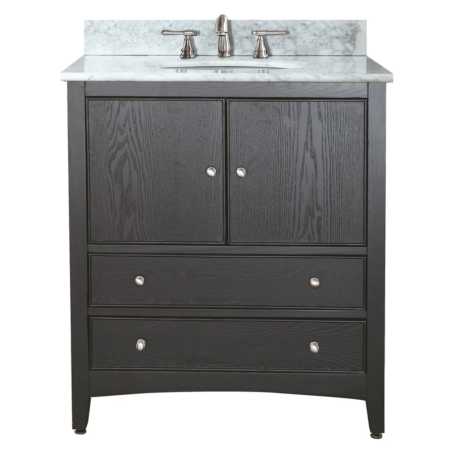 Avanity Westwood Ebony 31-in Undermount Single Sink Poplar Bathroom Vanity with Natural Marble Top