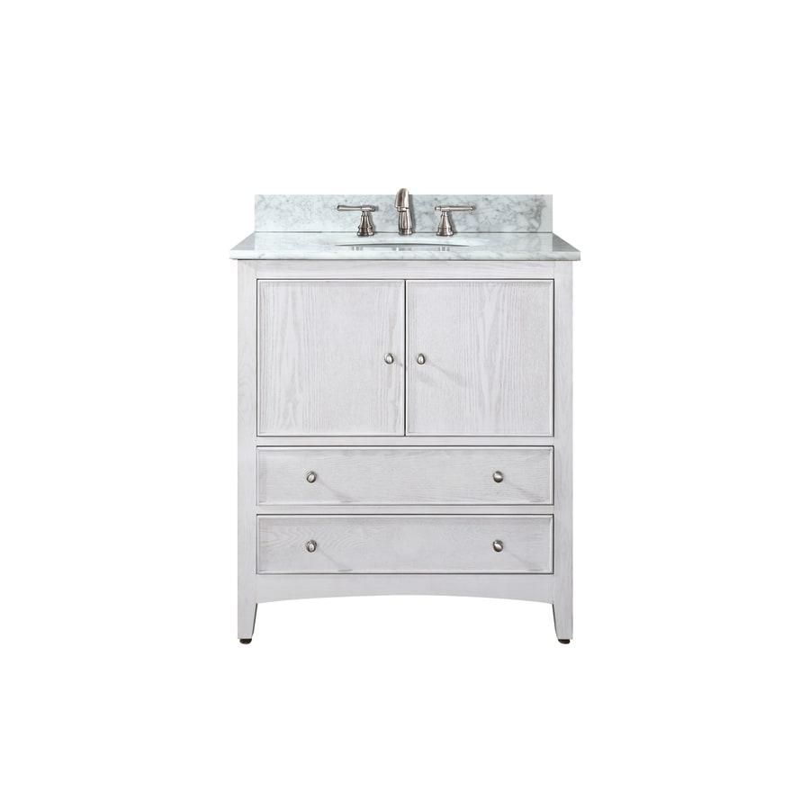 Avanity Westwood White 25 In Undermount Single Sink Poplar Bathroom Vanity With Natural Marble Top