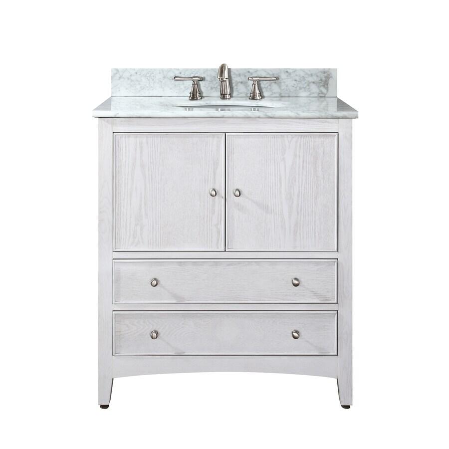 Avanity Westwood White 31-in Undermount Single Sink Poplar Bathroom Vanity with Natural Marble Top