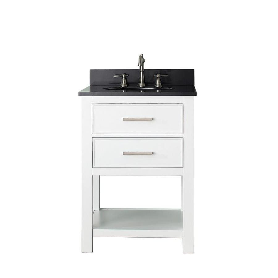 Avanity Brooks White 25-in Undermount Single Sink Poplar Bathroom Vanity with Granite Top