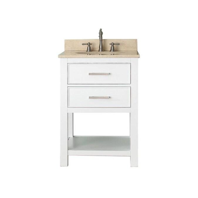 Avanity Brooks 25 In White Undermount Single Sink Bathroom Vanity With Beige Natural Marble Top In The Bathroom Vanities With Tops Department At Lowes Com