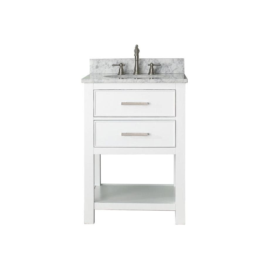 Avanity Brooks White Undermount Single Sink Bathroom Vanity with Natural Marble Top (Common: 25-in x 22-in; Actual: 25-in x 22-in)