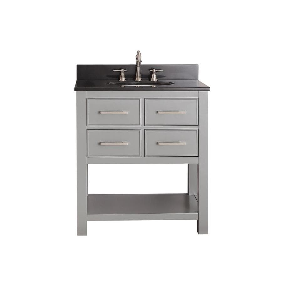 Avanity Brooks Chilled Gray 31-in Undermount Single Sink Poplar Bathroom Vanity with Granite Top