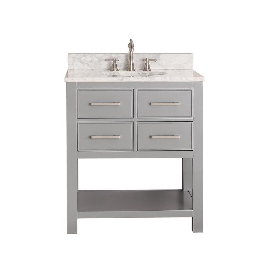 Avanity Brooks Chilled Gray Undermount Single Sink Bathroom Vanity with Natural Marble Top (Common: 31-in x 22-in; Actual: 31-in x 22-in)