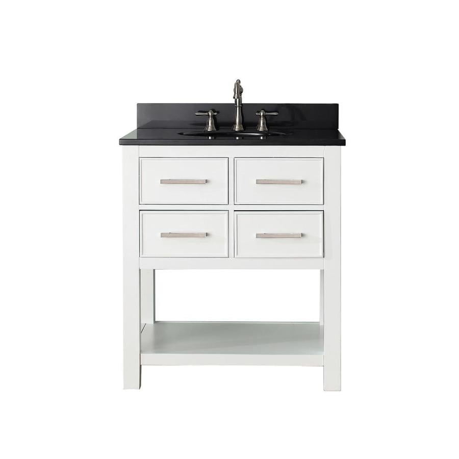 Avanity Brooks White 31-in Undermount Single Sink Poplar Bathroom Vanity with Granite Top