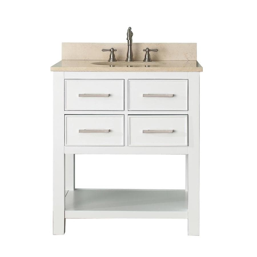Avanity Brooks White (Common: 31-in x 22-in) Undermount Single Sink Poplar Bathroom Vanity with Natural Marble Top (Actual: 31-in x 22-in)