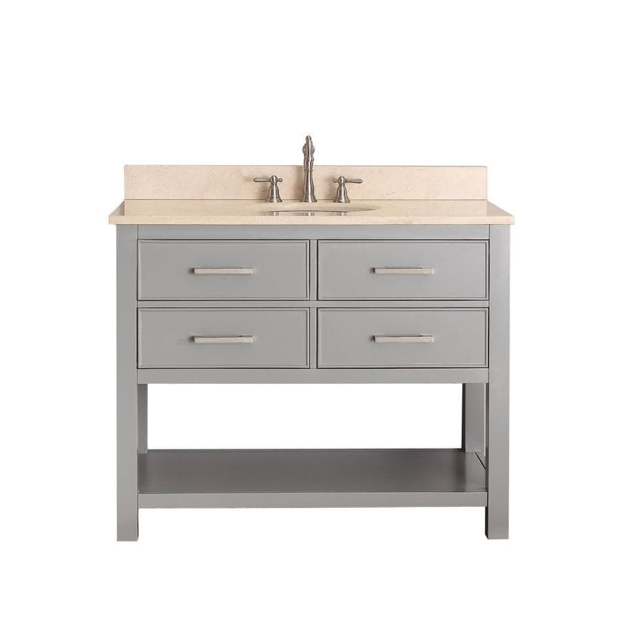 Avanity Brooks Chilled Gray 43-in Undermount Single Sink Poplar Bathroom Vanity with Natural Marble Top