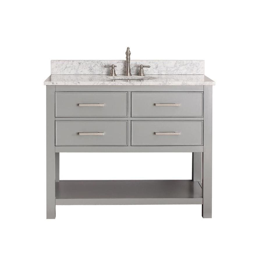 Avanity Brooks Chilled Gray (Common: 43-in x 22-in) Undermount Single Sink Poplar Bathroom Vanity with Natural Marble Top (Actual: 43-in x 22-in)