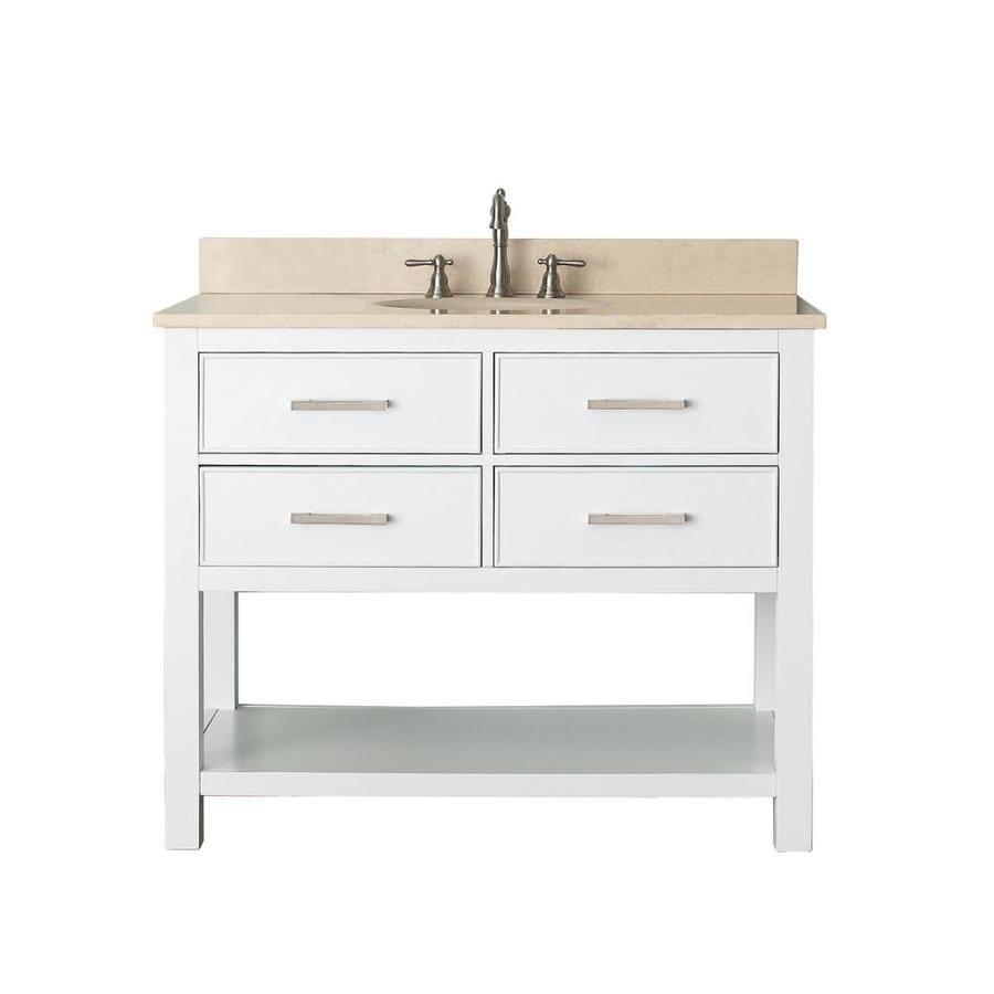Shop Avanity Brooks White Single Sink Vanity with Beige Natural ...