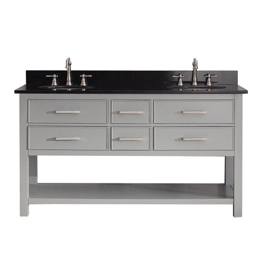 Avanity Brooks Chilled Gray (Common: 61-in x 22-in) Undermount Double Sink Poplar Bathroom Vanity with Granite Top (Actual: 61-in x 22-in)
