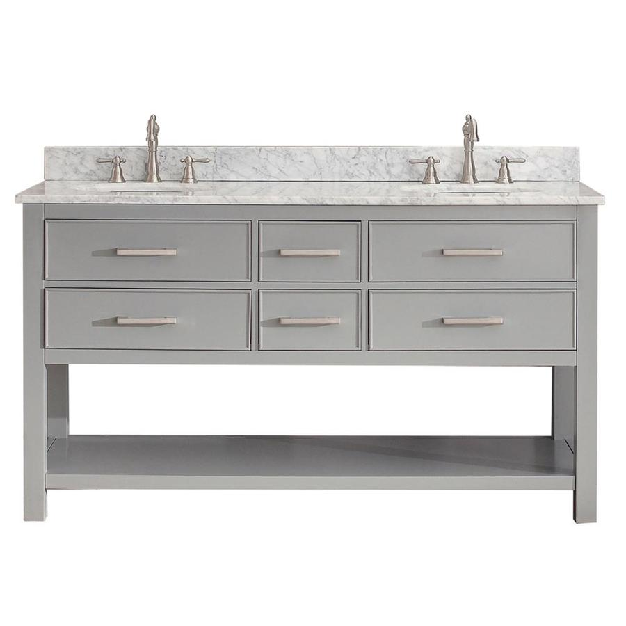 Avanity Brooks Chilled Gray 61-in Undermount Double Sink Poplar Bathroom Vanity with Natural Marble Top