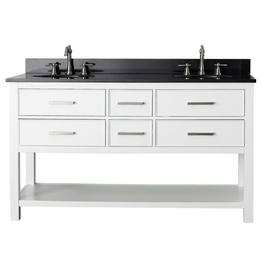 Avanity Brooks White Undermount Double Sink Bathroom Vanity with Granite Top (Common: 61-in x 22-in; Actual: 61-in x 22-in)