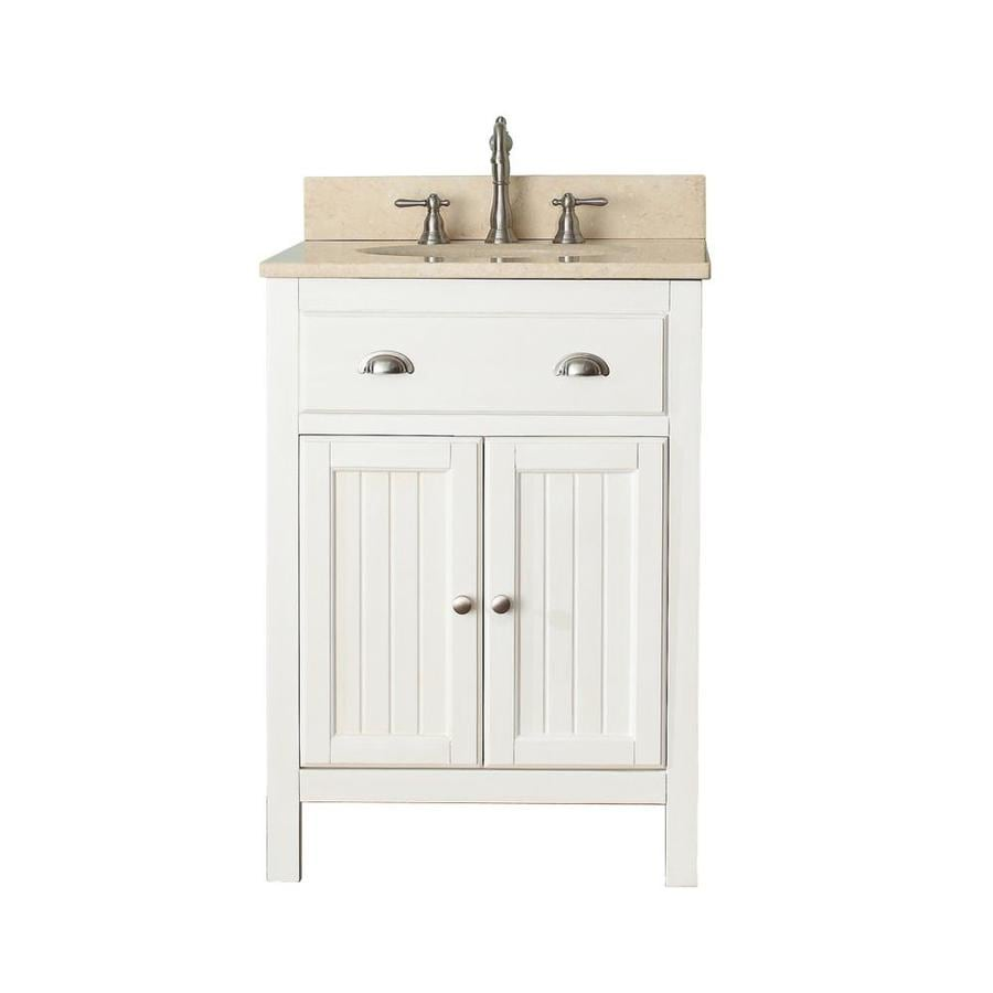 Avanity Hamilton French White (Common: 25-in x 22-in) Undermount Single Sink Poplar Bathroom Vanity with Natural Marble Top (Actual: 25-in x 22-in)