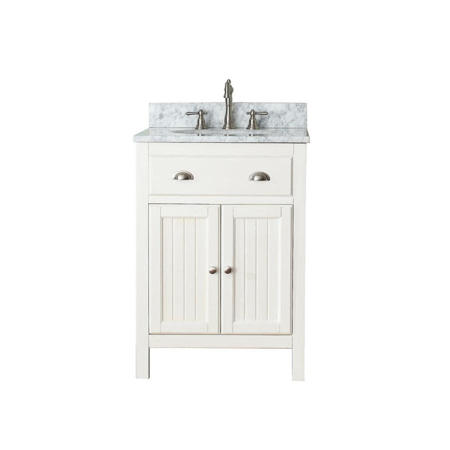 Avanity Hamilton French White 25-in Undermount Single Sink Poplar Bathroom Vanity with Natural Marble Top