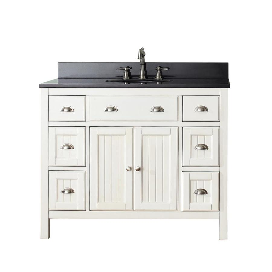 Shop Avanity Hamilton French White Undermount Single Sink Bathroom Vanity With Granite Top