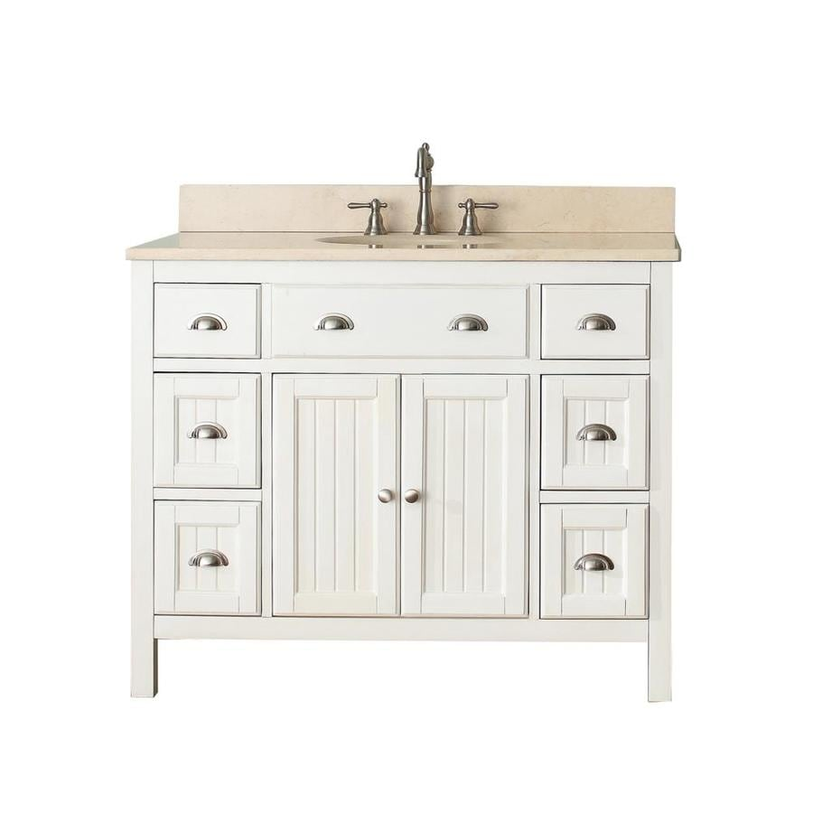Avanity Hamilton French White Undermount Single Sink Bathroom Vanity with Natural Marble Top (Common: 43-in x 22-in; Actual: 43-in x 22-in)