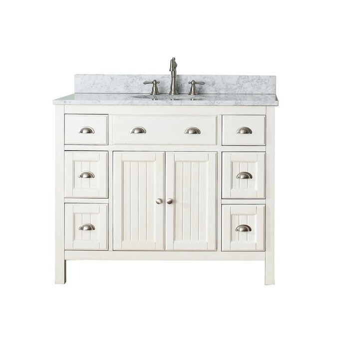 Avanity Hamilton 43 In French White Undermount Single Sink Bathroom Vanity With White Natural Marble Top In The Bathroom Vanities With Tops Department At Lowes Com