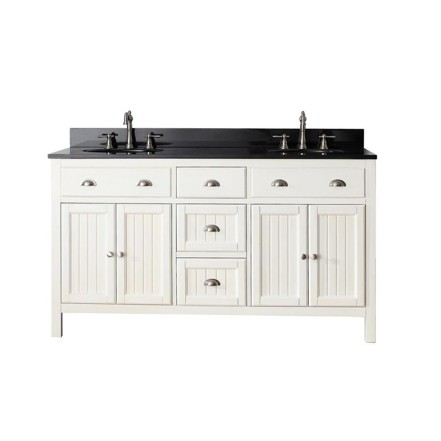 Shop avanity hamilton french white undermount double sink bathroom vanity with granite top - Double bathroom vanities granite tops ...