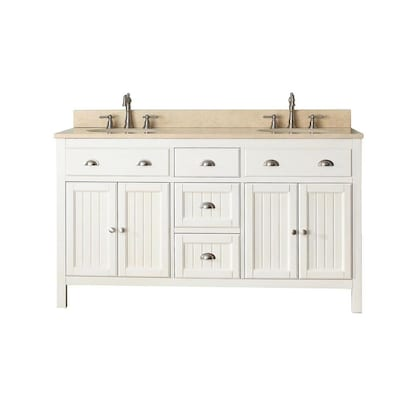 Avanity Hamilton 61 In French White Double Sink Bathroom