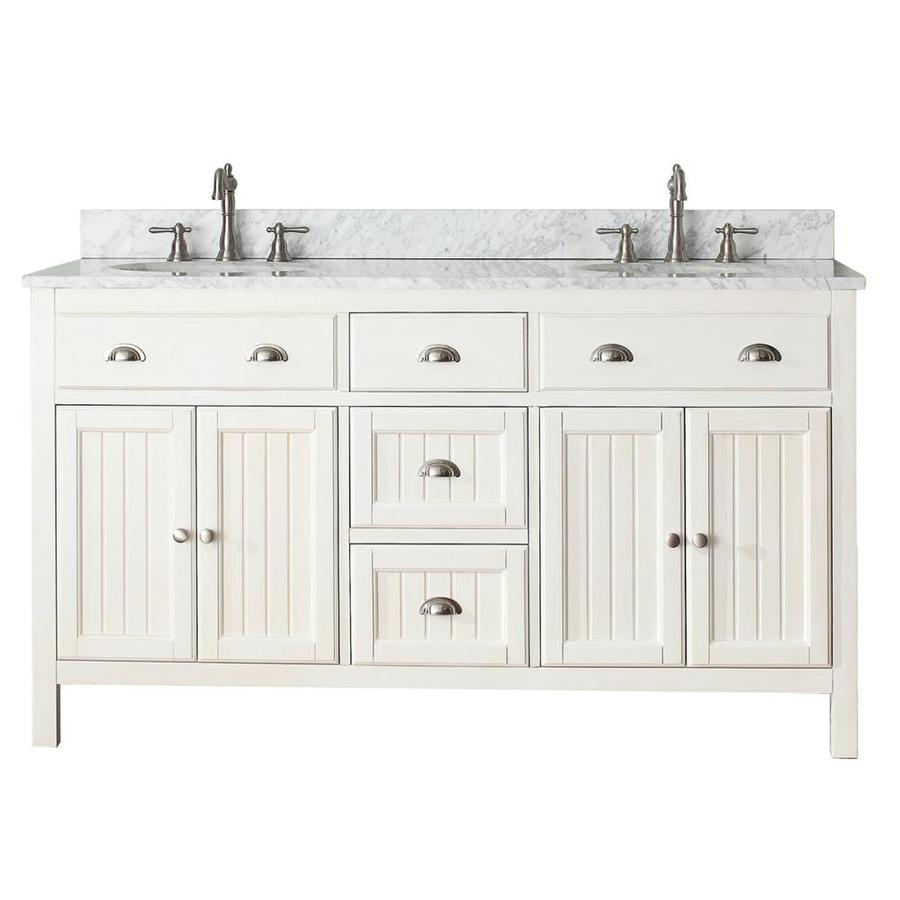 Avanity Hamilton French White 61-in Undermount Double Sink Poplar Bathroom Vanity with Natural Marble Top