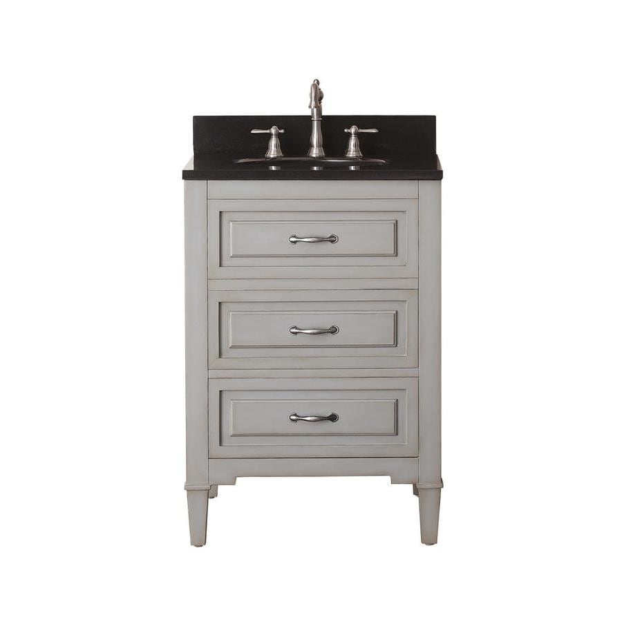 Avanity Kelly Grayish Blue 25-in Undermount Single Sink Poplar Bathroom Vanity with Granite Top