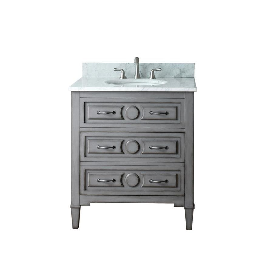 Avanity Kelly Grayish Blue Undermount Single Sink Bathroom Vanity with Natural Marble Top (Common: 31-in x 22-in; Actual: 31-in x 22-in)