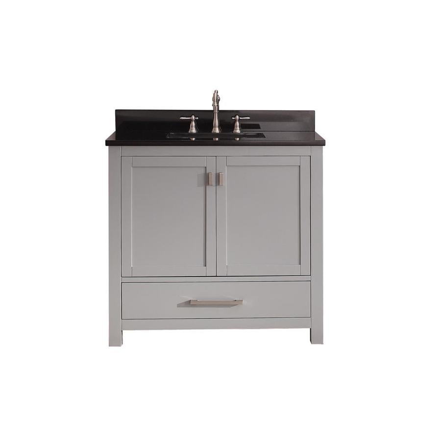 Avanity Modero Chilled Gray (Common: 37-in x 22-in) Undermount Single Sink Poplar Bathroom Vanity with Granite Top (Actual: 37-in x 22-in)