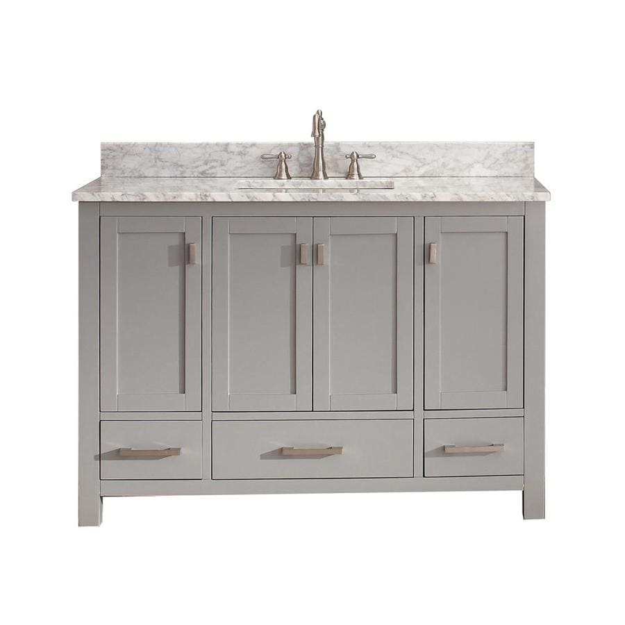Shop avanity modero chilled gray undermount single sink bathroom vanity with natural marble top Marble top bathroom vanities