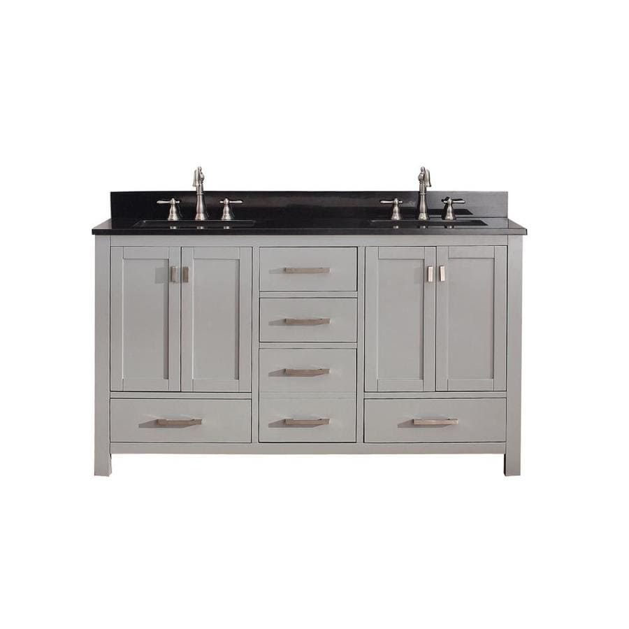 Avanity Modero Chilled Gray Undermount Double Sink Bathroom Vanity with Granite Top (Common: 61-in x 22-in; Actual: 61-in x 22-in)
